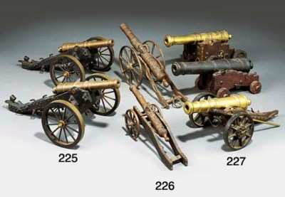 TWO BRASS AND STEEL MODELS OF