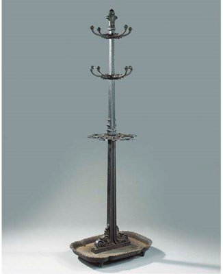 A REGENCY CAST IRON HALL STAND