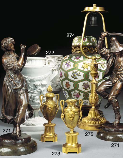 A FRENCH PORCELAIN AND GILT BR