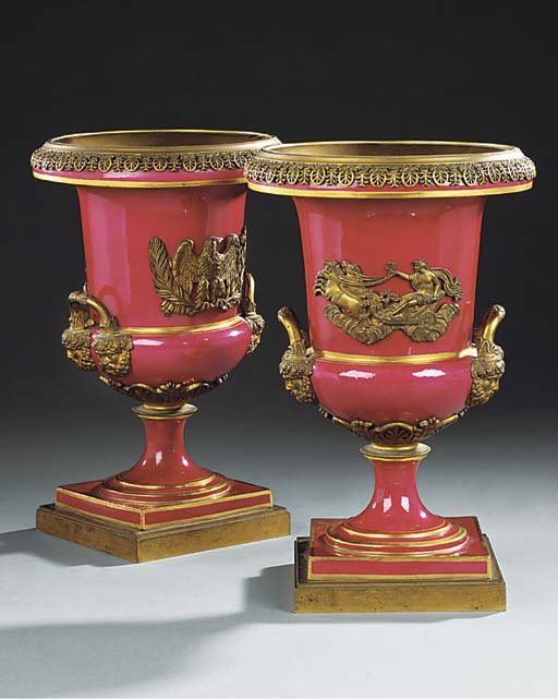 A PAIR OF PINK GLAZED PORCELAI