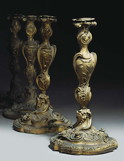A SET OF FOUR GILT BRONZE CAND