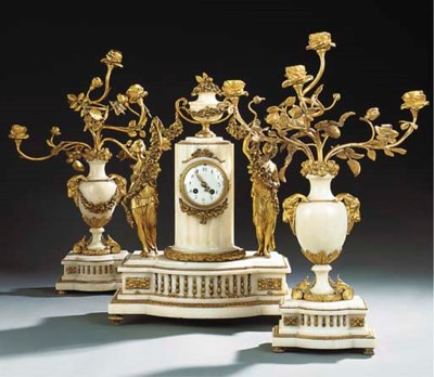 A FRENCH GILT BRONZE AND WHITE