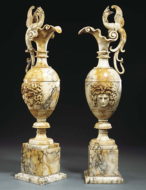 A PAIR OF ITALIAN ALABASTER OR