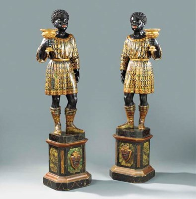 A PAIR OF VENETIAN GILT AND PO