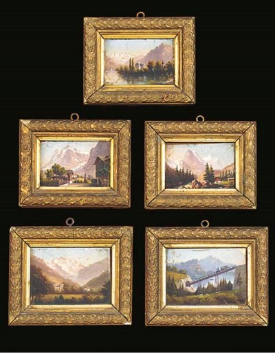 A GROUP OF FIVE SWISS LANDSCAP