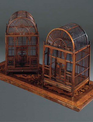 A FRENCH FRUITWOOD BIRD CAGE