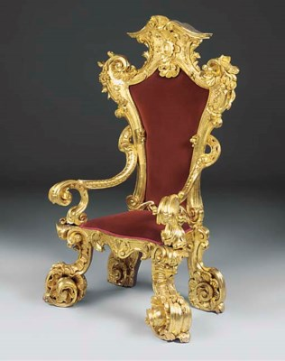 AN ITALIAN GILTWOOD THRONE CHA