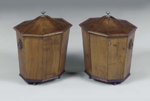 A PAIR OF WALNUT OCTAGONAL CEL