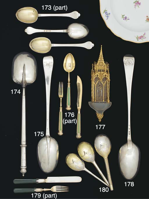 A Set of Three Parcel-Gilt Silver Fitting Spoons