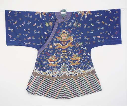A COURT ROBE OF BLUE SILK