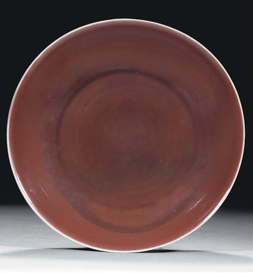 A liver red glazed saucer dish