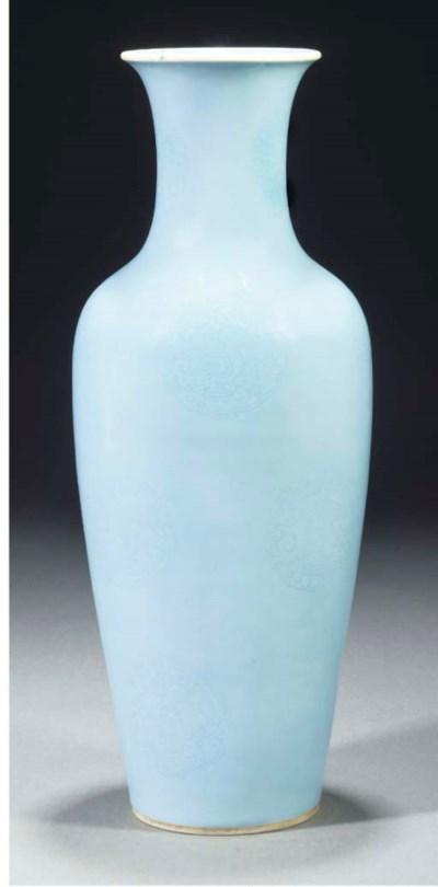 A lavender glazed ovoid vase,