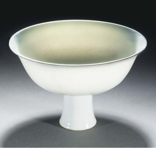 A white glazed stem bowl, 18th