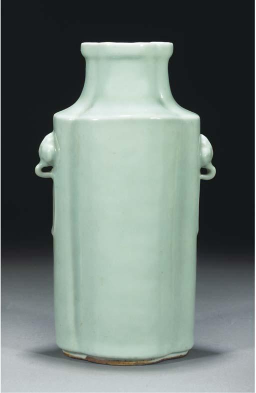 A pale celadon glaze quatrefoi