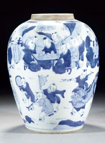 A blue and white ovoid jar, Ka