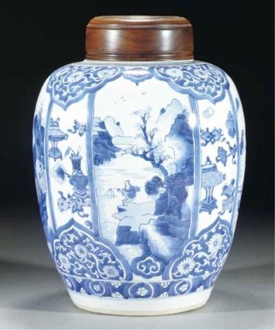 A blue and white jar, Kangxi