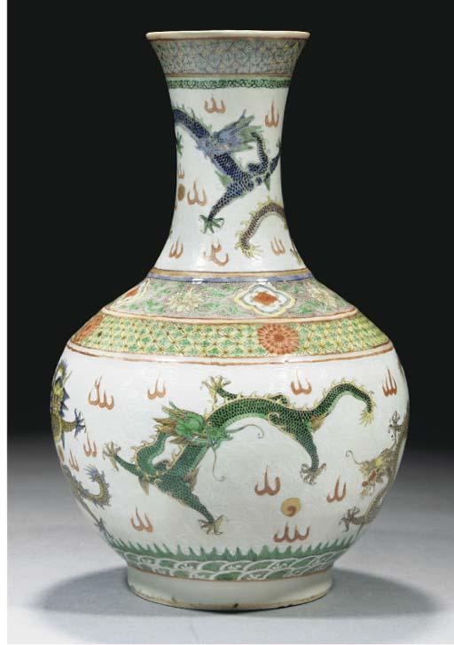 A famille verte bottle vase, 1