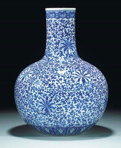 A large blue and white bottle
