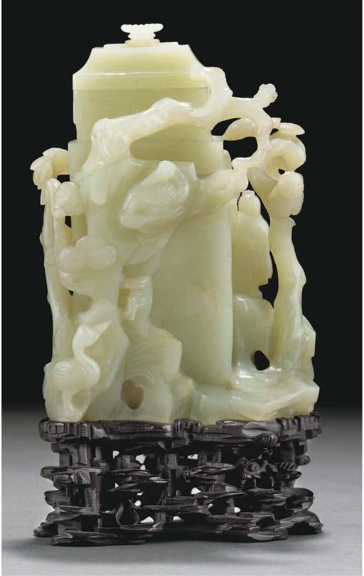A pale celadon jade vase and c