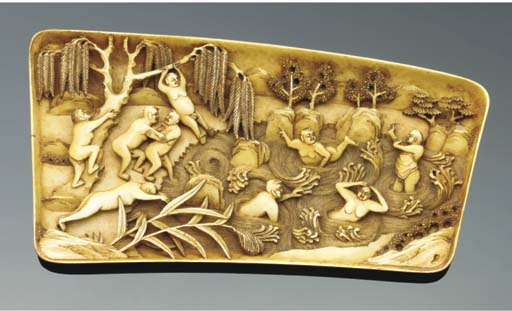 An erotic ivory panel, 19th Ce