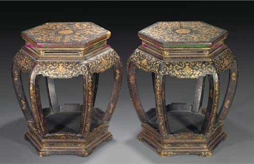 A pair of lacquered and gilt w