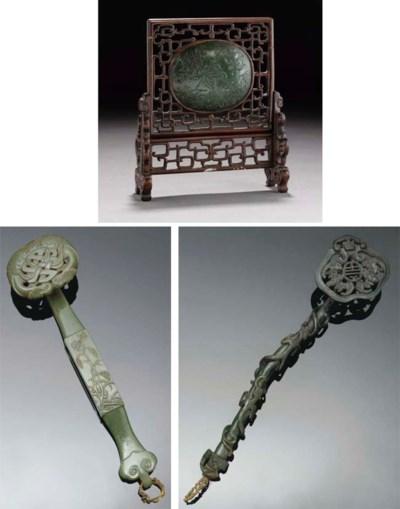 A spinach jade ruyi sceptre, 1