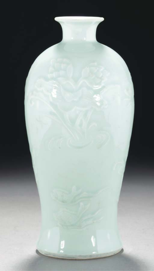 A pale celadon glazed baluster