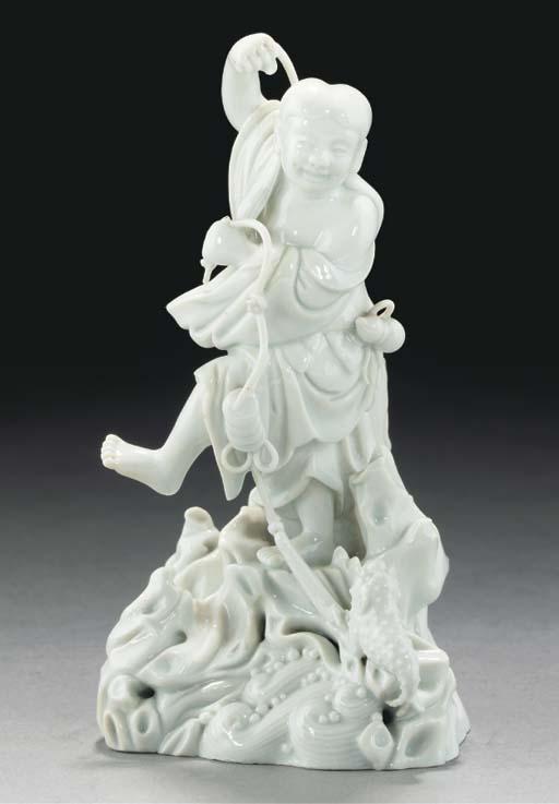 A blanc-de-chine model of Liu Hai, 18th/19th Century