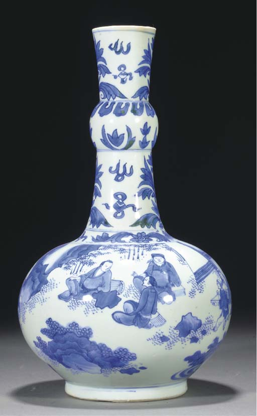 A blue and white bottle vase, Transitional