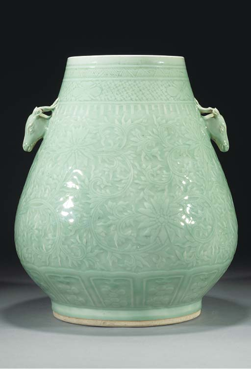 A large celadon hu-vase, 18th/
