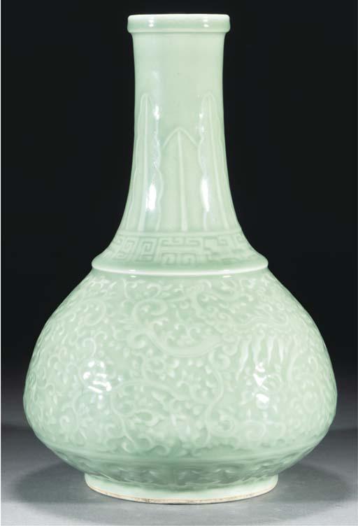 A celadon carved pear shaped v