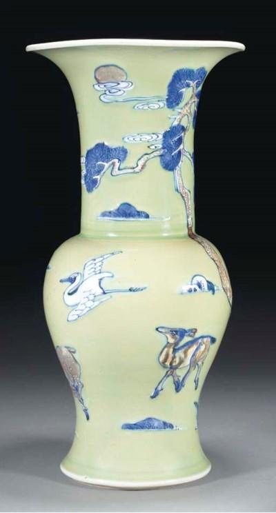A celadon ground yan yan vase,