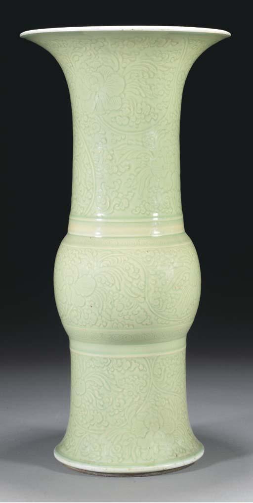 A celadon gu-vase, Kangxi