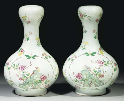 A pair of famille rose bottle