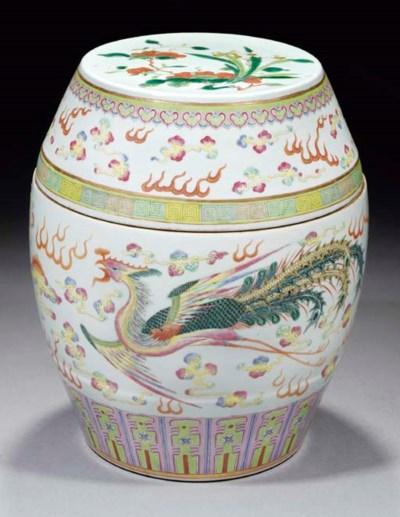 A famille rose barrel-form box