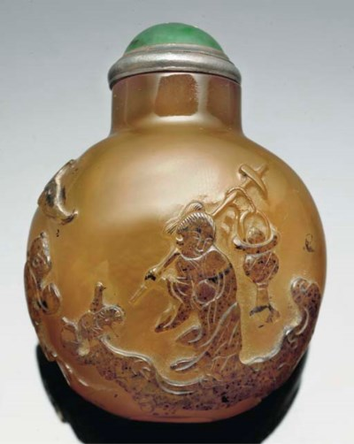 An agate snuff bottle, 19th ce