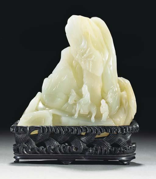 A celadon jade mountain group,