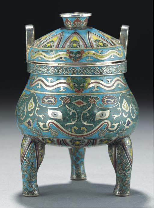A cloisonne and silver tripod