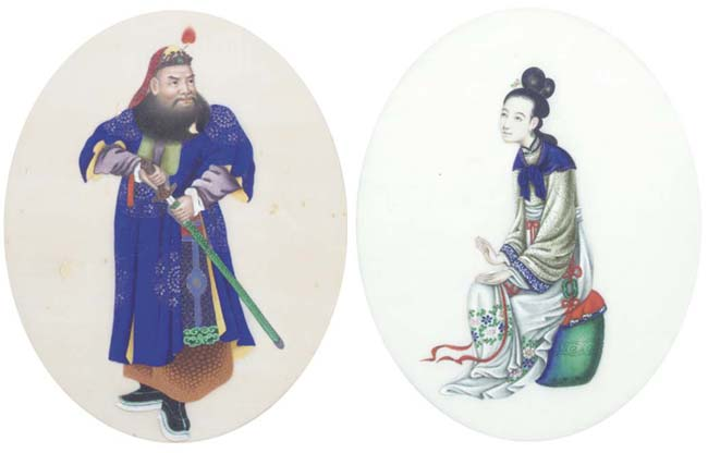 A set of five ricepaper paintings, 19th century