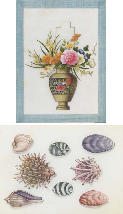 A selection of ricepaper paintings, 19th century