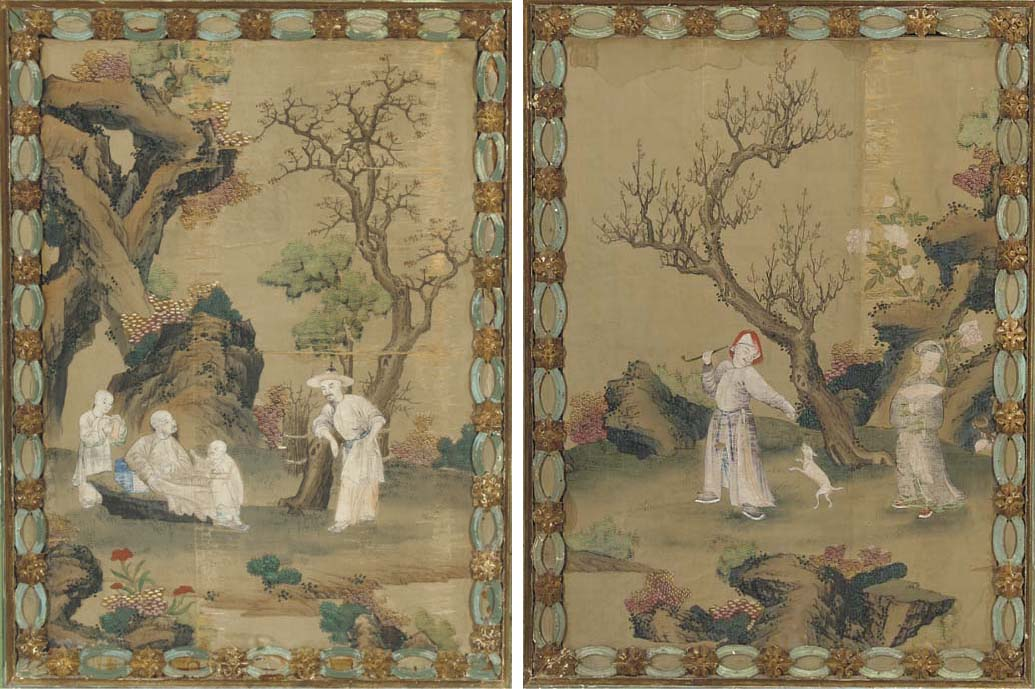 A set of four paintings in ink and colour on silk, 18th/19th century