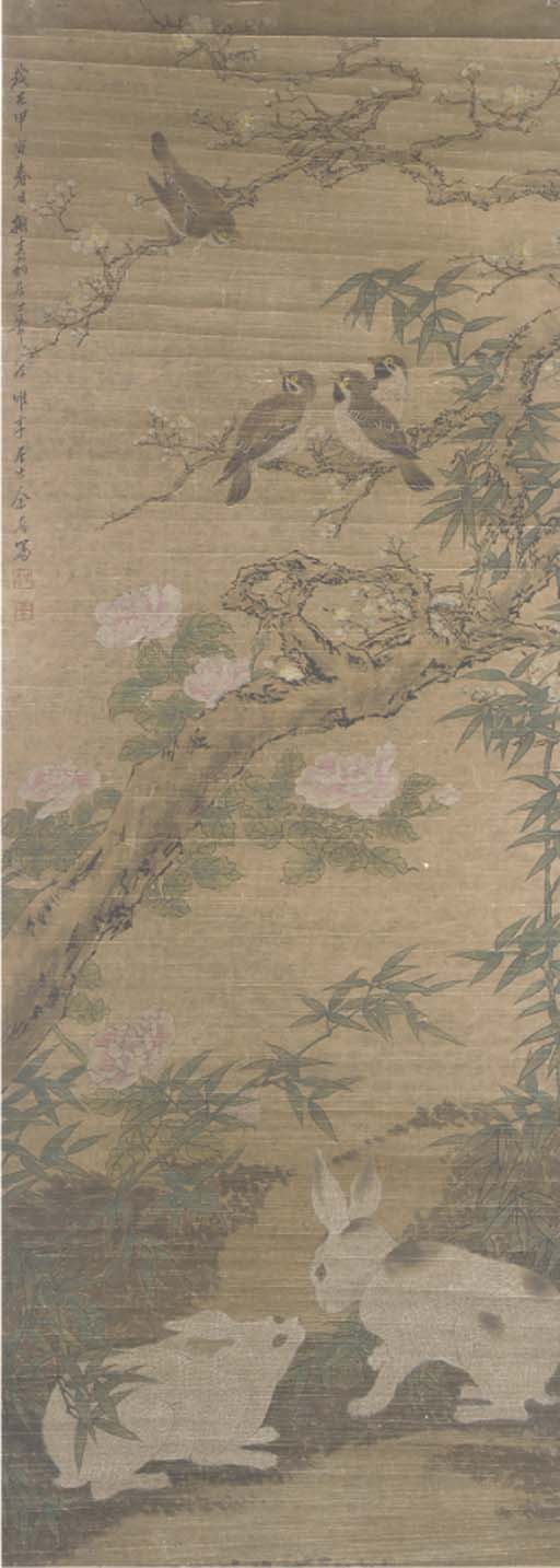 A hanging scroll in ink and co