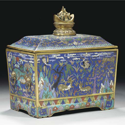 A large cloisonne casket and cover, 18th century