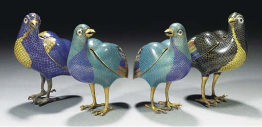 Two pairs of cloisonne censers