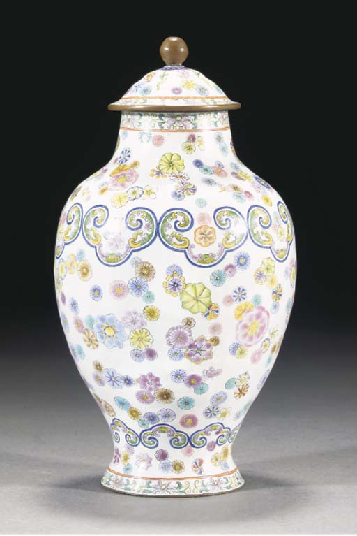 A Canton enamel vase and cover