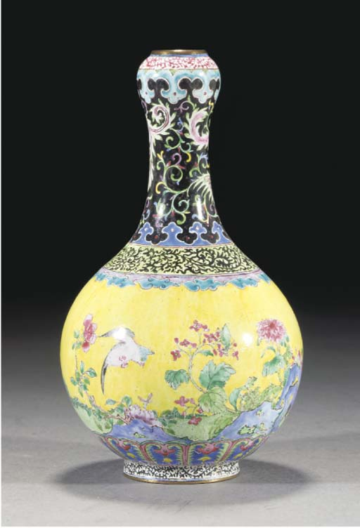 A Canton enamel bottle vase, 1
