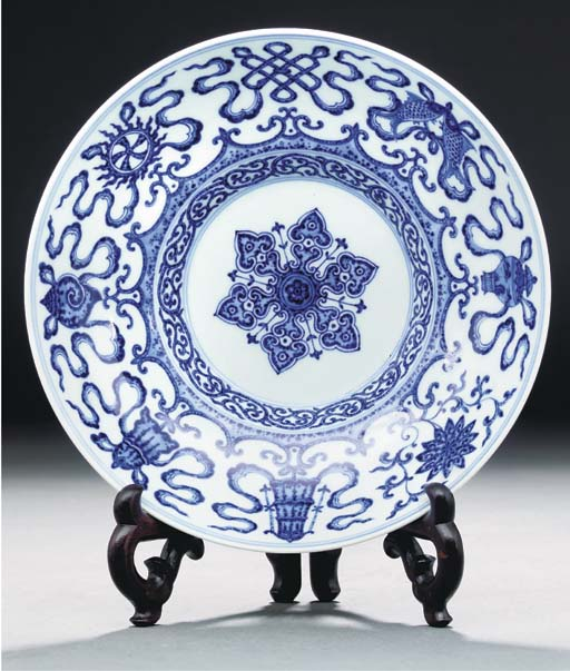 A blue and white ogee-form for