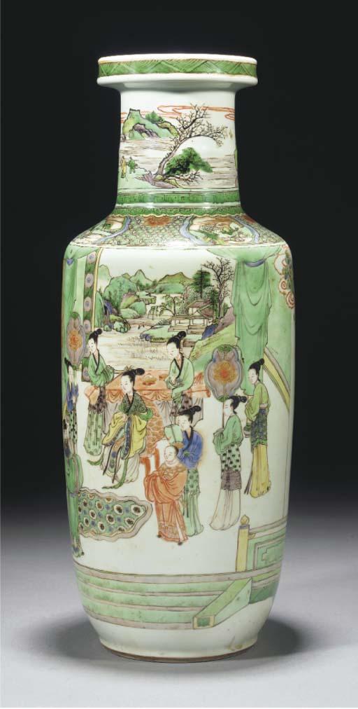 A famille verte rouleau vase, Kangxi