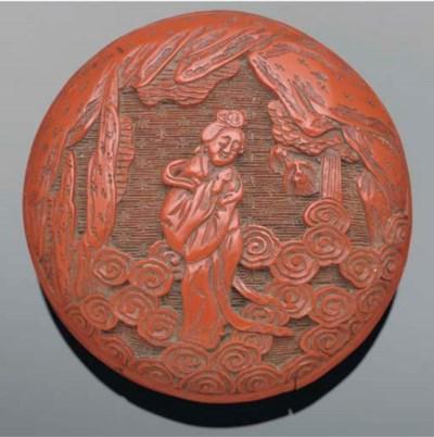 A cinnabar lacquer rounded cir