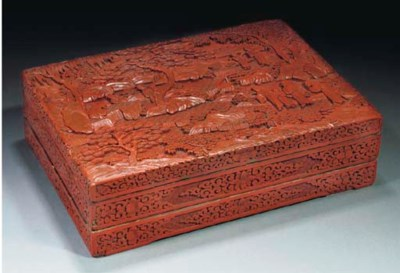 A cinnabar lacquer two-tier re